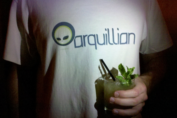Arquillian t-shirt with drink